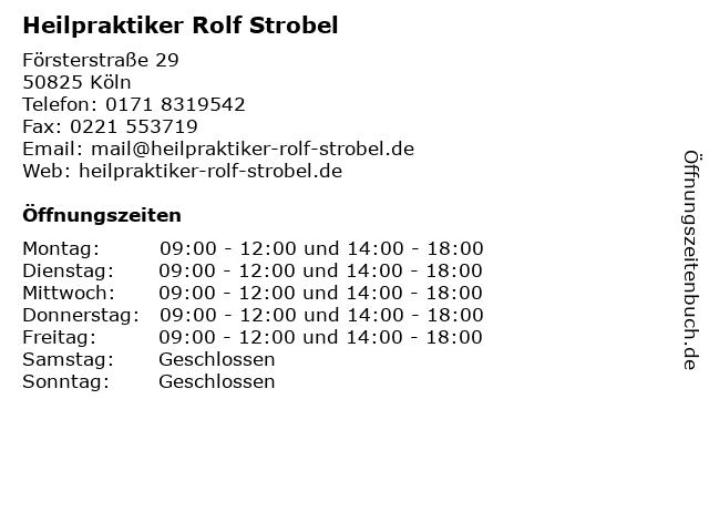 Heilpraktiker Rolf Strobel in Köln: Adresse und Öffnungszeiten