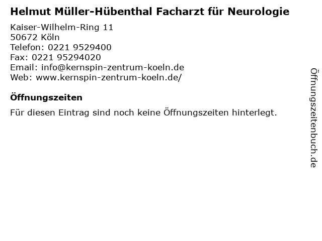 Helmut Müller-Hübenthal Facharzt für Neurologie in Köln: Adresse und Öffnungszeiten