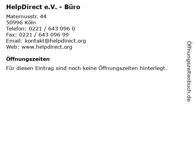 HelpDirect e.V. - Büro in Köln: Adresse und Öffnungszeiten