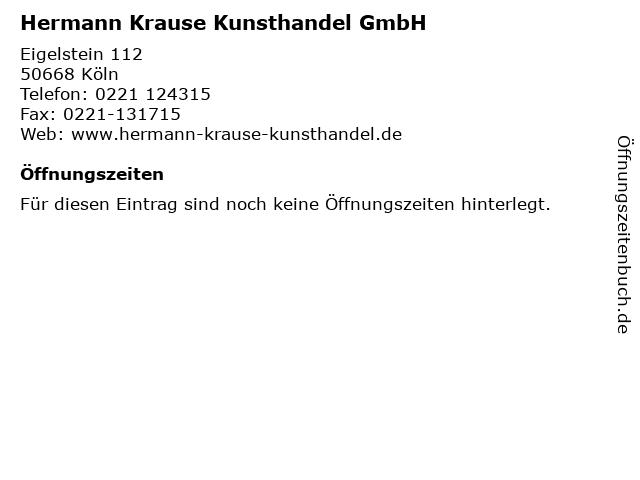 Hermann Krause Kunsthandel GmbH in Köln: Adresse und Öffnungszeiten