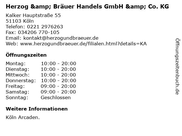 Herzog & Bräuer Handels GmbH & Co. KG in Köln: Adresse und Öffnungszeiten