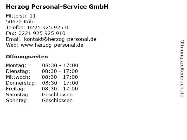 Herzog Personal-Service GmbH in Köln: Adresse und Öffnungszeiten