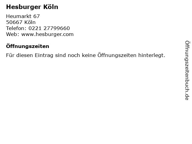 Hesburger Köln in Köln: Adresse und Öffnungszeiten