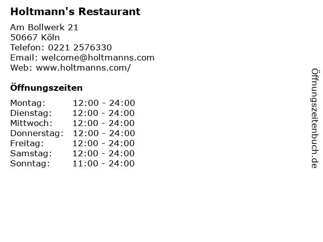 Holtmann's Restaurant in Köln: Adresse und Öffnungszeiten