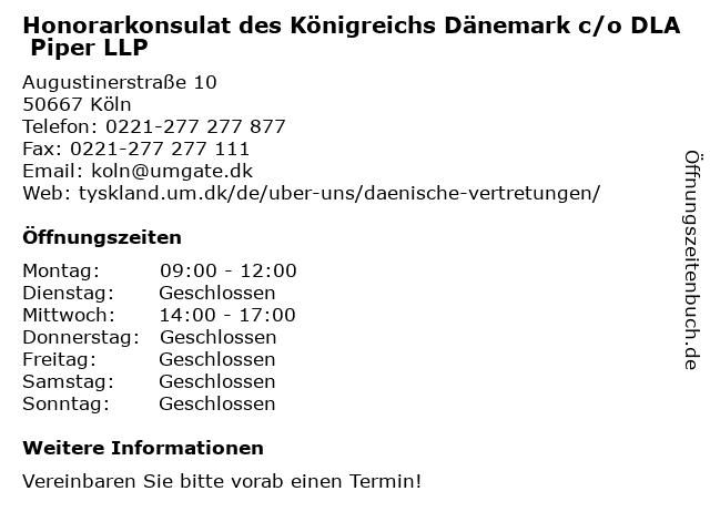 Honorarkonsulat des Königreichs Dänemark c/o DLA Piper LLP in Köln: Adresse und Öffnungszeiten
