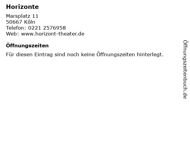 Horizonte in Köln: Adresse und Öffnungszeiten