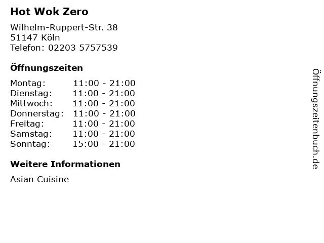 Hot Wok Zero in Köln: Adresse und Öffnungszeiten
