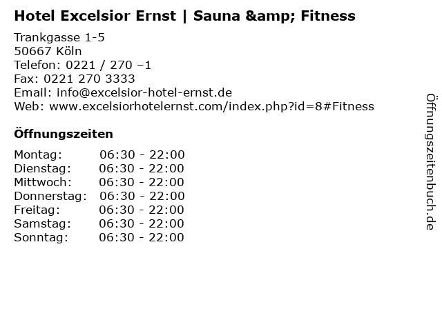 Hotel Excelsior Ernst | Sauna & Fitness in Köln: Adresse und Öffnungszeiten