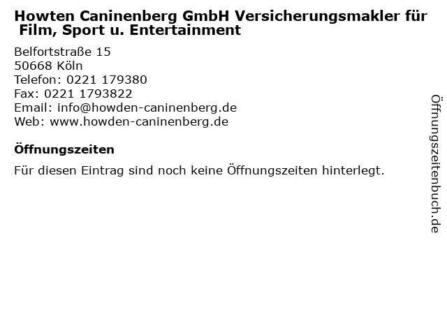 Howten Caninenberg GmbH Versicherungsmakler für Film, Sport u. Entertainment in Köln: Adresse und Öffnungszeiten