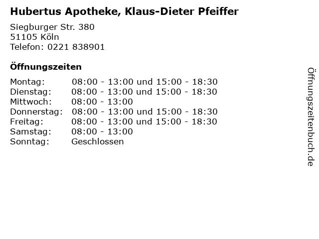 Hubertus Apotheke, Klaus-Dieter Pfeiffer in Köln: Adresse und Öffnungszeiten