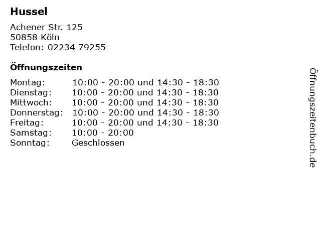 Hussel in Köln: Adresse und Öffnungszeiten
