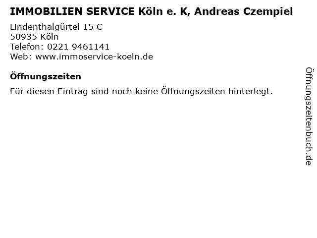 IMMOBILIEN SERVICE Köln e. K, Andreas Czempiel in Köln: Adresse und Öffnungszeiten