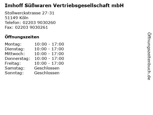 Imhoff Süßwaren Vertriebsgesellschaft mbH in Köln: Adresse und Öffnungszeiten