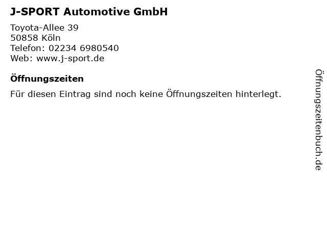 J-SPORT Automotive GmbH in Köln: Adresse und Öffnungszeiten