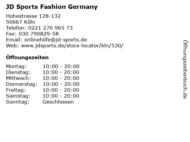 JD Sports Fashion Germany in Köln: Adresse und Öffnungszeiten