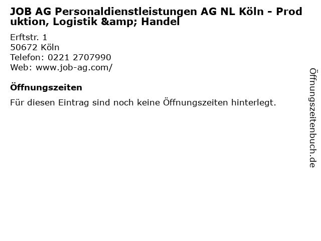 JOB AG Personaldienstleistungen AG NL Köln - Produktion, Logistik & Handel in Köln: Adresse und Öffnungszeiten