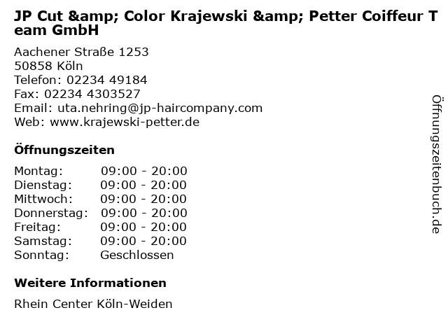 JP Cut & Color Krajewski & Petter Coiffeur Team GmbH in Köln: Adresse und Öffnungszeiten