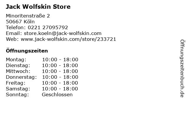Jack Wolfskin Store in Köln: Adresse und Öffnungszeiten