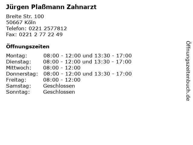 Jürgen Plaßmann Zahnarzt in Köln: Adresse und Öffnungszeiten