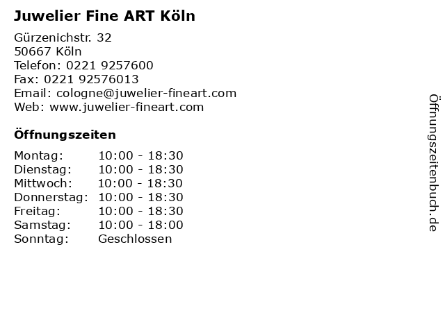 Juwelier Fine ART Köln in Köln: Adresse und Öffnungszeiten