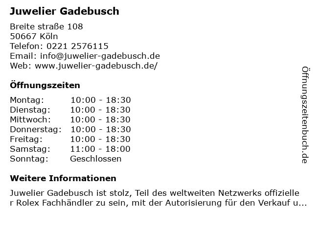 Juwelier Gadebusch in Köln: Adresse und Öffnungszeiten