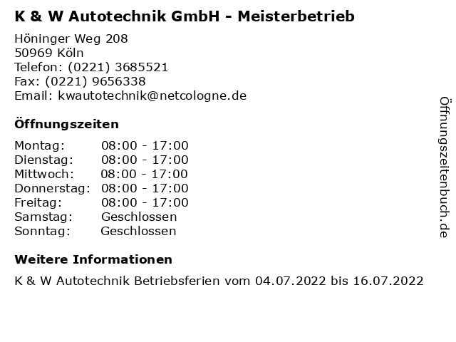 K & W Autotechnik GmbH - Meisterbetrieb in Köln: Adresse und Öffnungszeiten