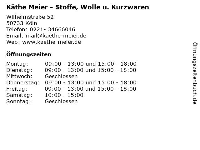 ᐅ öffnungszeiten Käthe Meier Stoffe Wolle U Kurzwaren