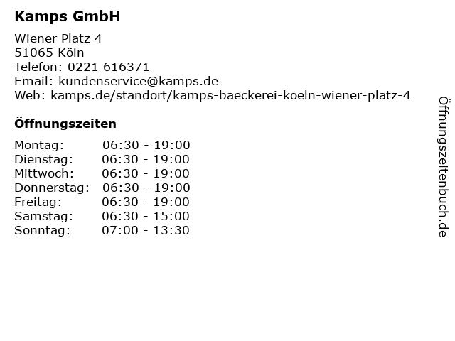 Kamps GmbH in Köln: Adresse und Öffnungszeiten