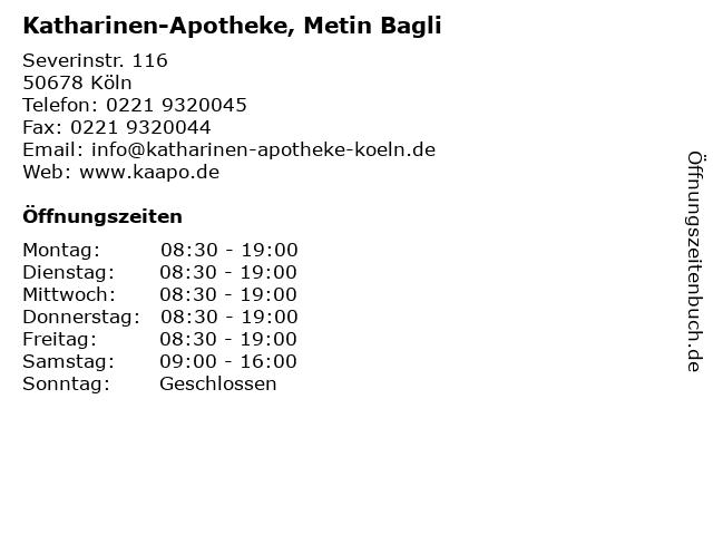 Katharinen-Apotheke, Metin Bagli in Köln: Adresse und Öffnungszeiten