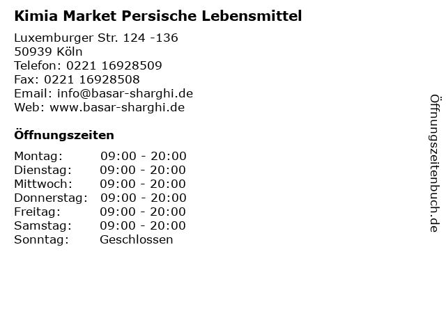 Kimia Market Persische Lebensmittel in Köln: Adresse und Öffnungszeiten