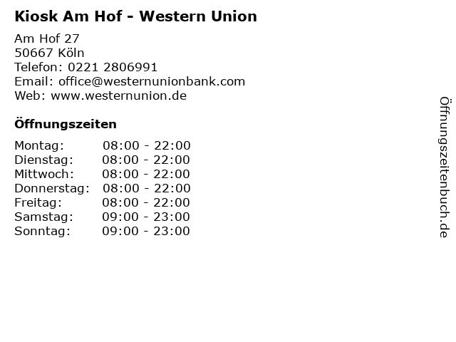Kiosk Am Hof - Western Union in Köln: Adresse und Öffnungszeiten