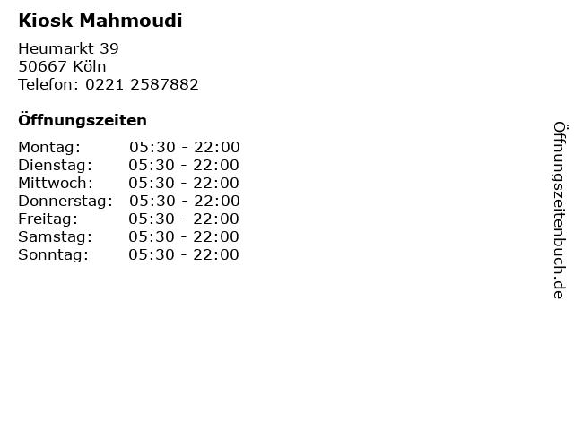 Kiosk Mahmoudi in Köln: Adresse und Öffnungszeiten
