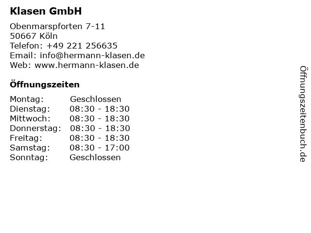 Klasen GmbH in Köln: Adresse und Öffnungszeiten