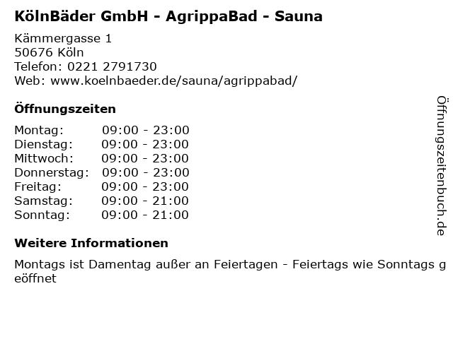 KölnBäder GmbH - AgrippaBad - Sauna in Köln: Adresse und Öffnungszeiten