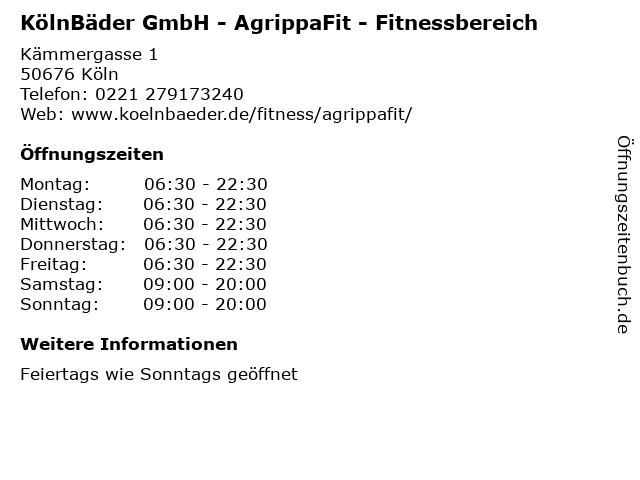 KölnBäder GmbH - AgrippaFit - Fitnessbereich in Köln: Adresse und Öffnungszeiten