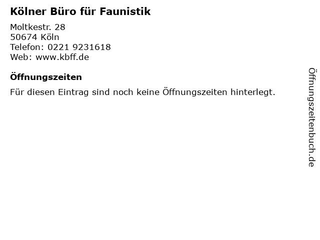 Kölner Büro für Faunistik in Köln: Adresse und Öffnungszeiten