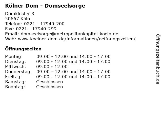 Kölner Dom - Domseelsorge in Köln: Adresse und Öffnungszeiten