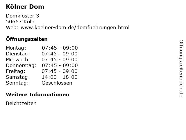 Kölner Dom in Köln: Adresse und Öffnungszeiten