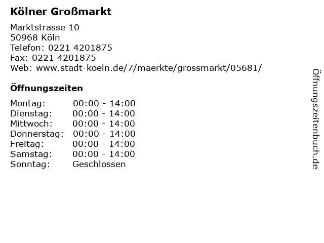 Kölner Großmarkt in Köln: Adresse und Öffnungszeiten