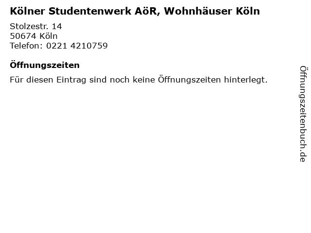 Kölner Studentenwerk AöR, Wohnhäuser Köln in Köln: Adresse und Öffnungszeiten