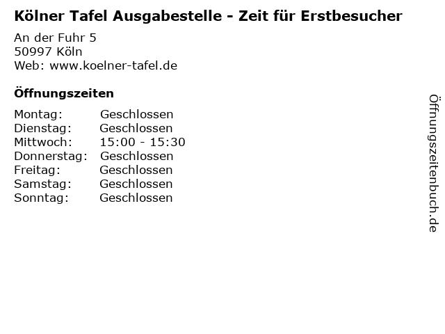 Kölner Tafel Ausgabestelle - Zeit für Erstbesucher in Köln: Adresse und Öffnungszeiten