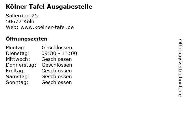 Kölner Tafel Ausgabestelle in Köln: Adresse und Öffnungszeiten