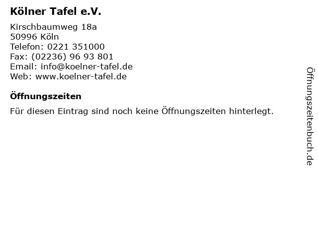 Kölner Tafel e.V. in Köln: Adresse und Öffnungszeiten