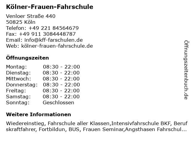 Kölner-Frauen-Fahrschule in Köln: Adresse und Öffnungszeiten