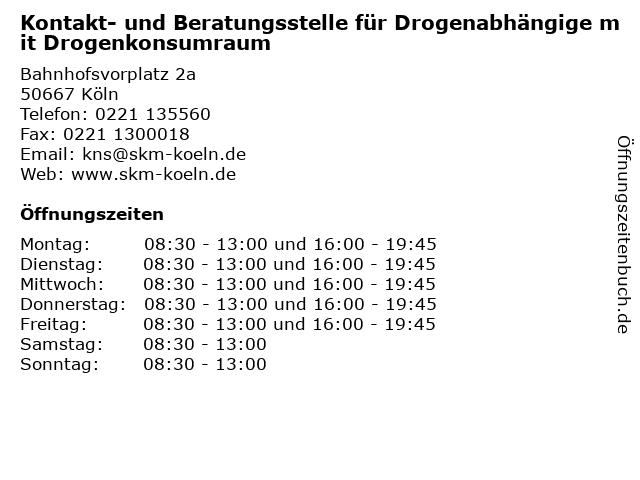 Kontakt- und Beratungsstelle für Drogenabhängige mit Drogenkonsumraum in Köln: Adresse und Öffnungszeiten