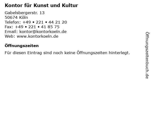 Kontor für Kunst und Kultur in Köln: Adresse und Öffnungszeiten