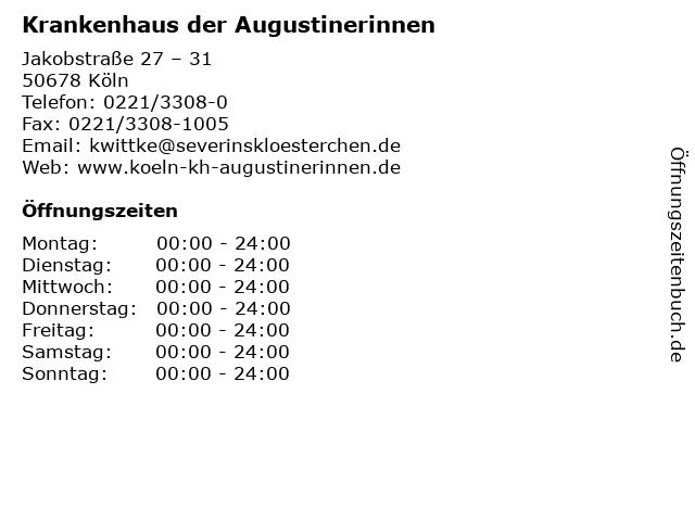 Krankenhaus der Augustinerinnen in Köln: Adresse und Öffnungszeiten