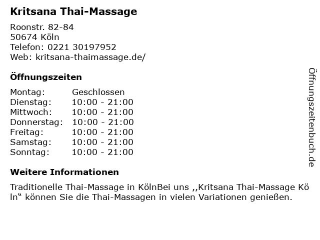 Kritsana Thai-Massage in Köln: Adresse und Öffnungszeiten