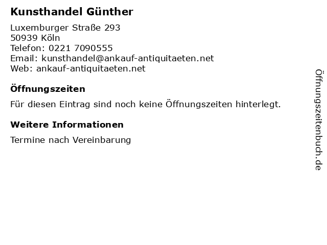 Kunsthandel Günther in Köln: Adresse und Öffnungszeiten