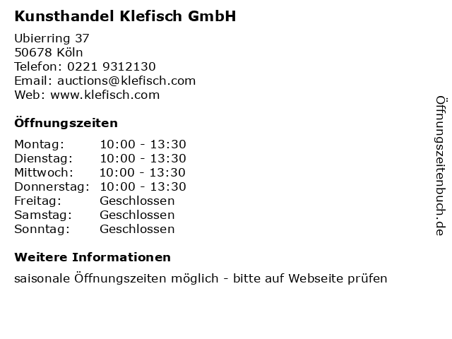 Kunsthandel Klefisch GmbH in Köln: Adresse und Öffnungszeiten